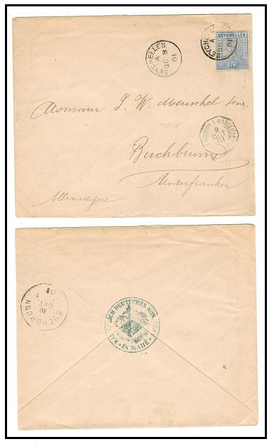 SEYCHELLES - 1901 15c rate cover to Germany sent from the German Consulate at Mahe.