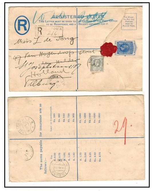 SEYCHELLES - 1912 12c blue RPSE uprated to Holland used at VICTORIA/SEYCHELLES.  H&G 2.