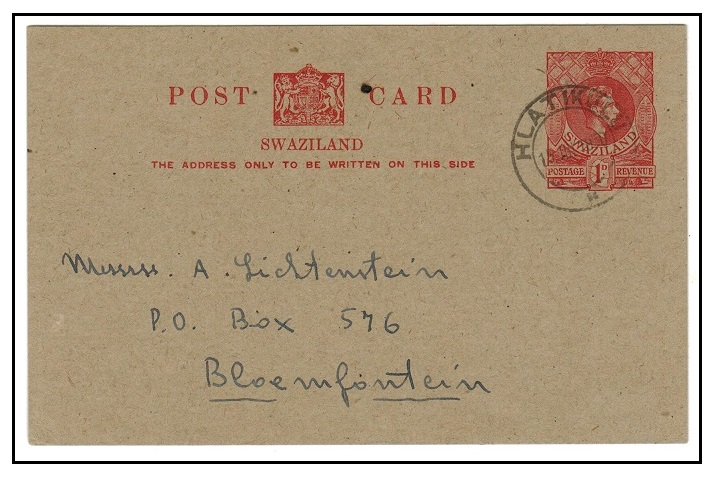 SWAZILAND - 1938 1d carmine PSC to Bloemfontein used at HLATIKULU. H&G 4.