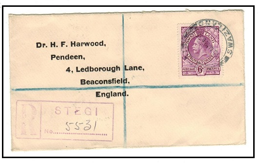 SWAZILAND - 1935 6d registered cover to UK used at STEGI.