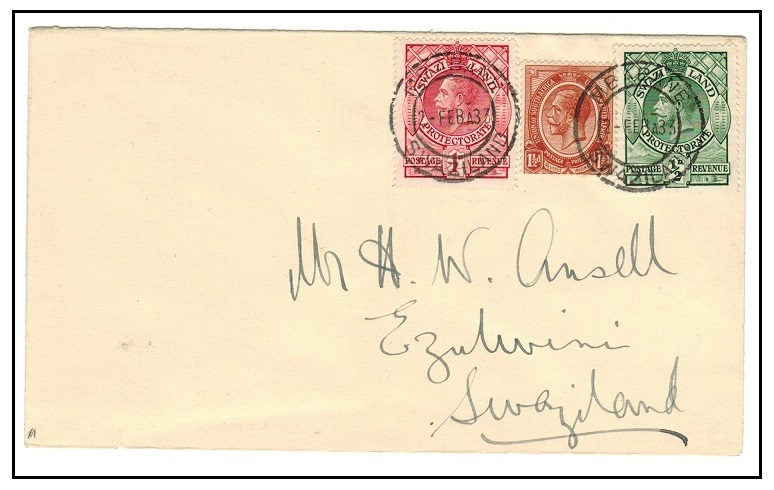 SWAZILAND - 1933 local cover bearing 1/2d and 2d tied in combination with South Africa 1 1/2d.