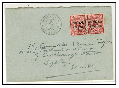 NEW HEBRIDES - 1909 20c rate cover to Australia used at PORT VILA.