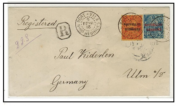 NEW HEBRIDES - 1912 75c registered cover to Germany used at PORT VILA.