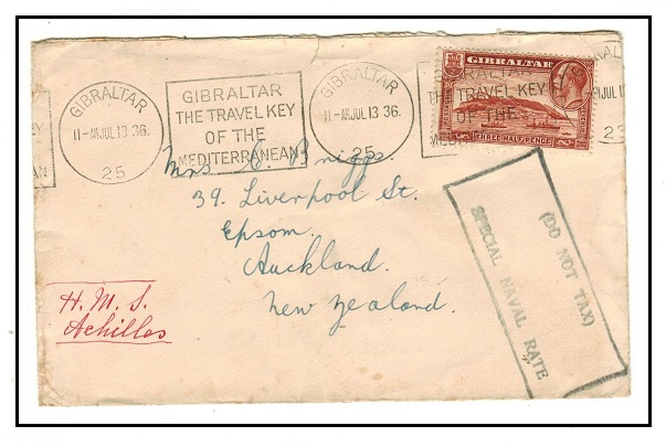 GIBRALTAR - 1936 1 1/2d rate cover to New Zealand struck by rare
