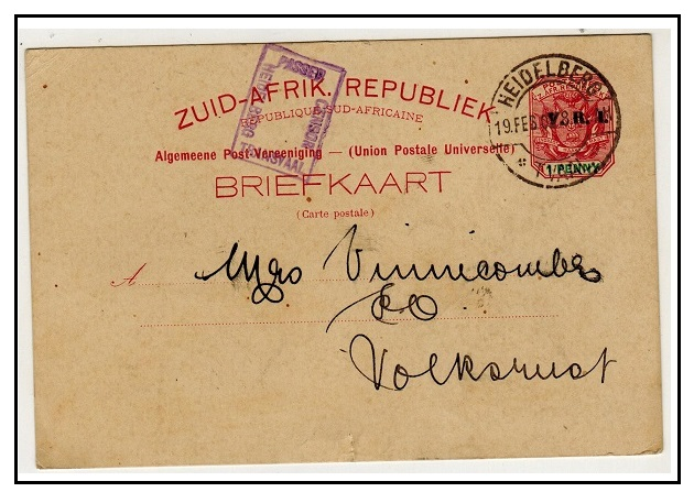 TRANSVAAL - 1900 1d carmine censored PSC used locally at HEIDELBERG.