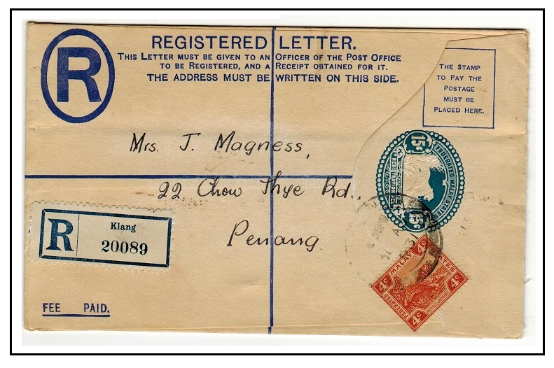 MALAYA (F.M.S.) - 1929 15c blue RPSE uprated to Penang used at KLANG.  H&G 5.