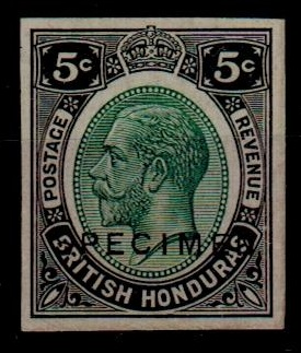 BRITISH HONDURAS - 1922 5c IMPERFORATE PLATE PROOF in black and green.