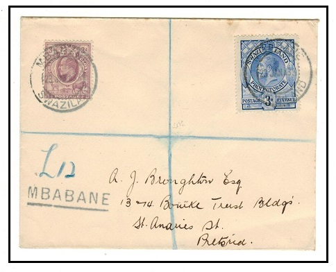 SWAZILAND - 1933 3d + ORC 3d combination registered cover to Pretoria used at MBABANE.