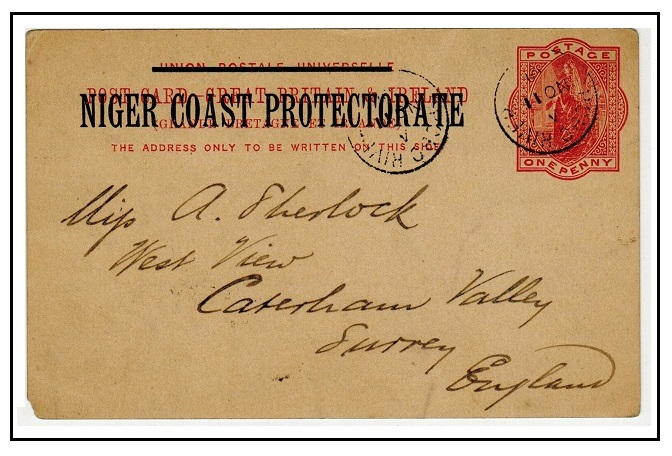 NIGER COAST - 1895 1d vermilion PSC to UK used at OPOBO RIVER.  H&G 3.