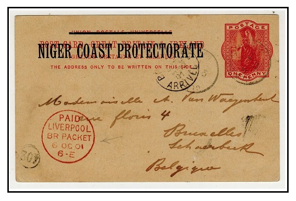 NIGER COAST - 1895 1d vermilion PSC to Belgium cancelled by rare small OLD CALABAR RIVER cds.