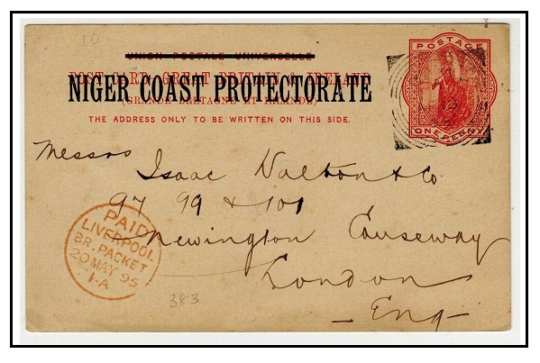 NIGER COAST - 1895 1d vermilion PSC to UK used at BONNY.  H&G 3.
