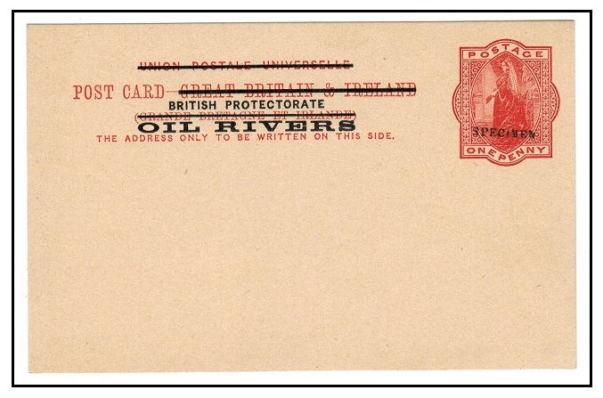 NIGER COAST - 1892 1d vermilion PSC unused with SPECIMEN applied in black.  H&G 2.