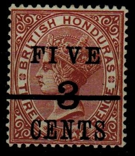 BRITISH HONDURAS - 1891 5c on 3c on 3d red-brown mint with WIDE SPACE variety.  SG49A.