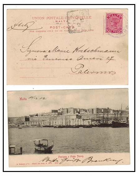MALTA - 1902 1d rate postcard to Italy used aboard ADRIA. A nice maritime use.