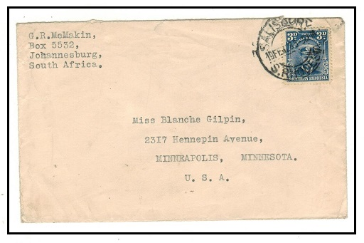 SOUTHERN RHODESIA - 1928 3d rate cover to USA used at SALISBURY.