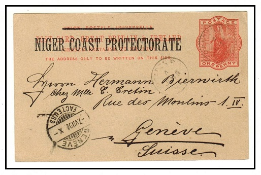 NIGER COAST - 1895 1d vermilion PSC to Switzerland used at FORCADOS.  H&G 3.