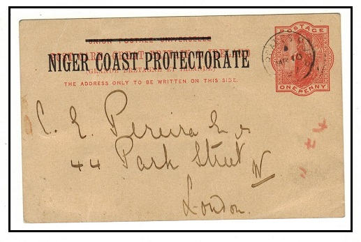 NIGER COAST - 1895 1d vermilion PSC to UK used at FORCADOS.  H&G 3.