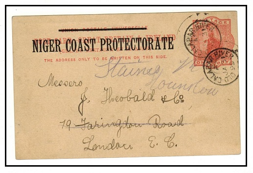 NIGER COAST - 1895 1d vermilion PSC to UK used at OLD CALABAR RIVER.  H&G 3.