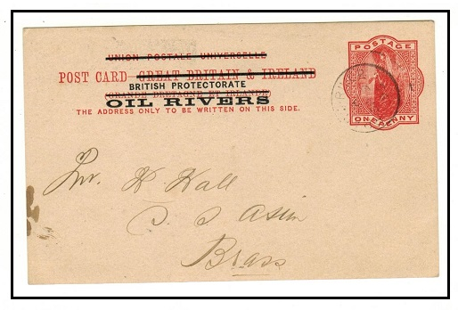 NIGER COAST - 1892 1d vermilion PSC used locally at BRASS RIVER.  H&G 2.