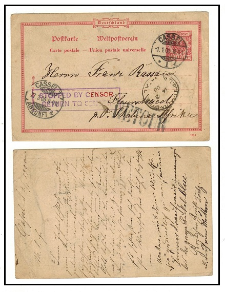 TRANSVAAL - 1900 inward 10pfg PSC of Germany struck