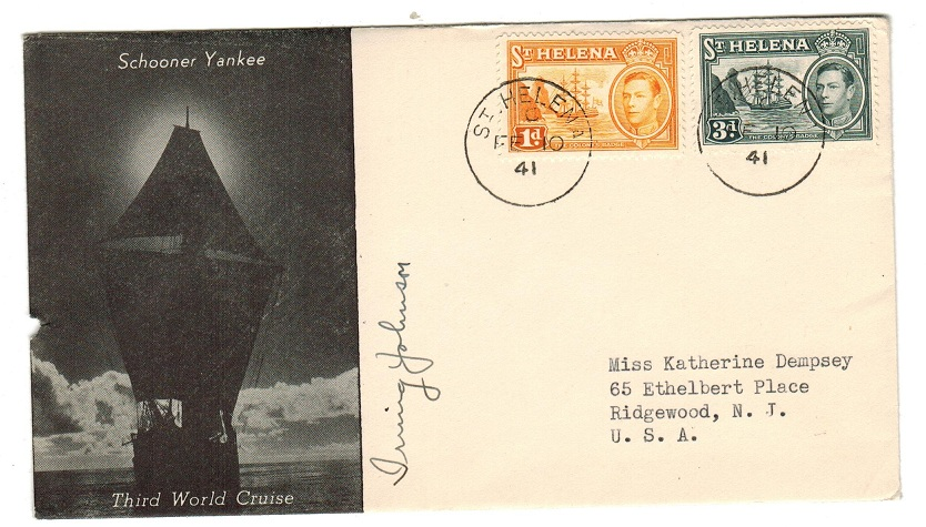 ST.HELENA - 1941 illustrated SCHOONER YANKEE CRUISE cover from ST.HELENA.