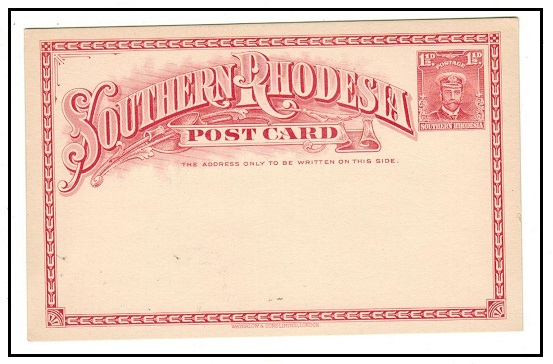 SOUTHERN RHODESIA - 1924 1 1/2d rose PSC unused.  H&G 2.