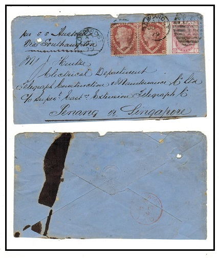 MALAYA (Penang) -1879 inward cover from UK with red PENANG/PAID arrival b/s.