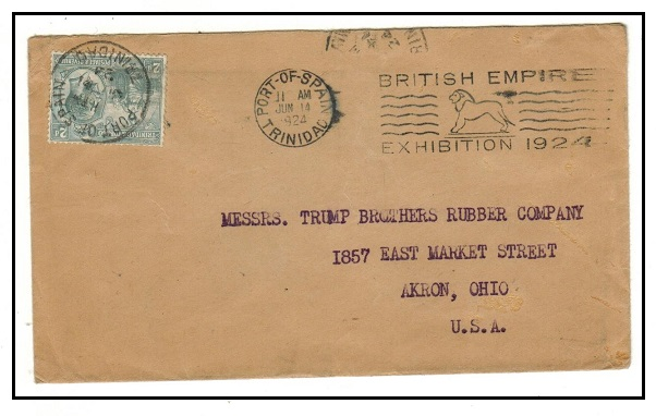 TRINIDAD AND TOBAGO - 1924 2d rate cover to USA cancelled by
