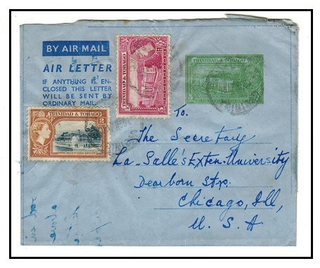 TRINIDAD AND TOBAGO - 1952 5c green air letter uprated to USA at SAN JUAN.  H&G 2.
