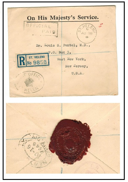 S.HELENA - 1946 OHMS registered cover struck OFFICIAL PAID with Government red wax on reverse.