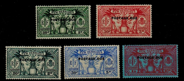 NEW HEBRIDES - 1925 POSTAGE DUE set in mint condition. SG D1-D5.