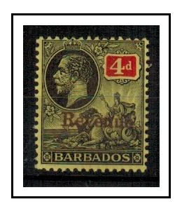 BARBADOS - 1916 4d black and red overprinted REVENUE fine mint.