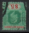 MALAYA (Straits Settlements) - 1909 $5 green and red used with INVERTED WATERMARK.  SG 167w.