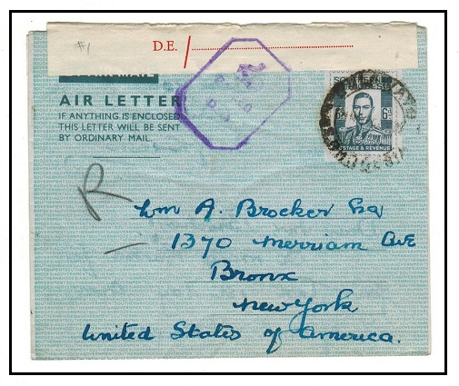 SOUTHERN RHODESIA - 1944 6d grey air letter censored at BULAWAYO.  H&G 1.