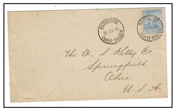 BARBADOS - 1910 2 1/2d rate cover to USA used at CHRIST CHURCH.