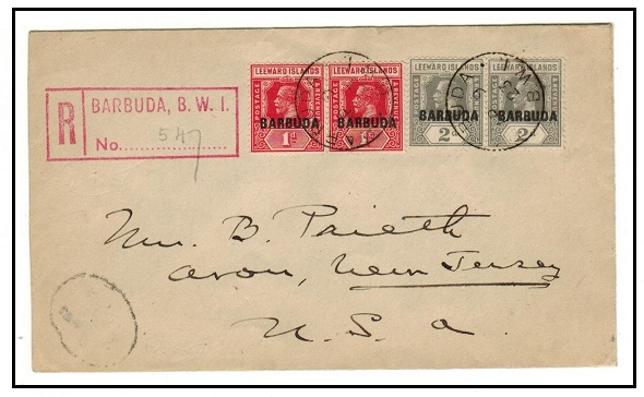 BARBUDA - 1923 6d rate registered cover to USA used at BARBUDA.