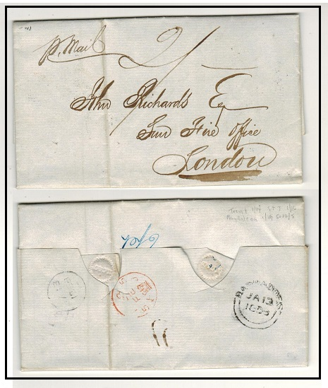 BARBADOS - 1853 2/- rated entire to UK with double arc BARBADOS b/s.