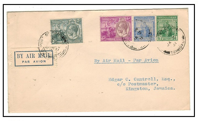 TRINIDAD AND TOBAGO - 1931 first flight cover to Jamaica.
