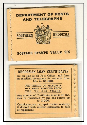 SOUTHERN RHODESIA - 1945 2/6d black on yellow complete BOOKLET.  SG SB4b.
