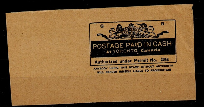 CANADA - 1937 POSTAGE PAID IN CASH permit cut out.