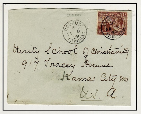 TRINIDAD AND TOBAGO - 1929 1d rate cover to USA used at CEDROS.