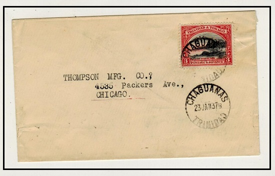 TRINIDAD AND TOBAGO - 1937 3c rate cover to USA used at CHAGUANAS.