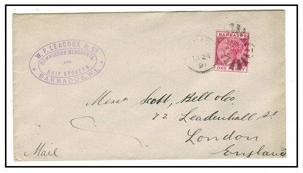 BARBADOS - 1891 1d rate commercial cover to UK.