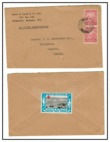 BARBADOS - 1941 2d rate cover to Canada with