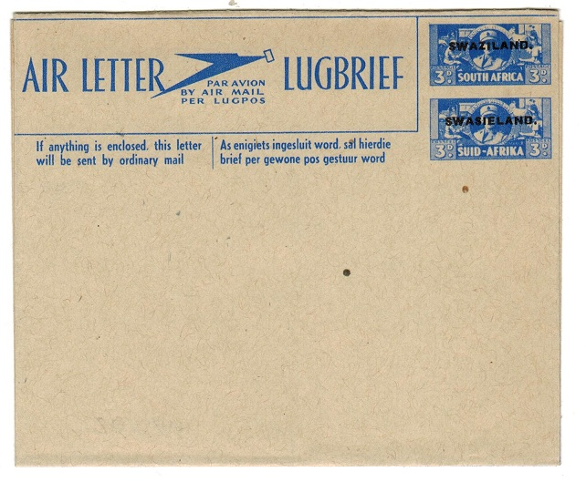 SWAZILAND - 1944 3d+3d blue on buff postal stationery air letter unused.  H&G 1.