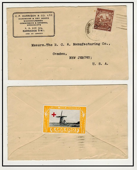 BARBADOS - 1941 3d rate cover to USA with