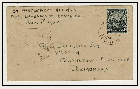 BARBADOS - 1945 first flight cover to British Guiana.