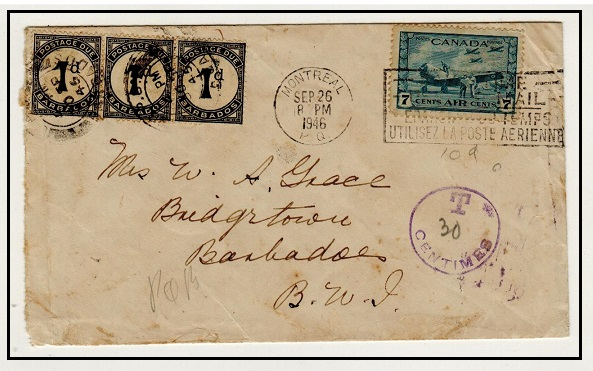 BARBADOS - 1946 inward underpaid cover from Canada with 1d black