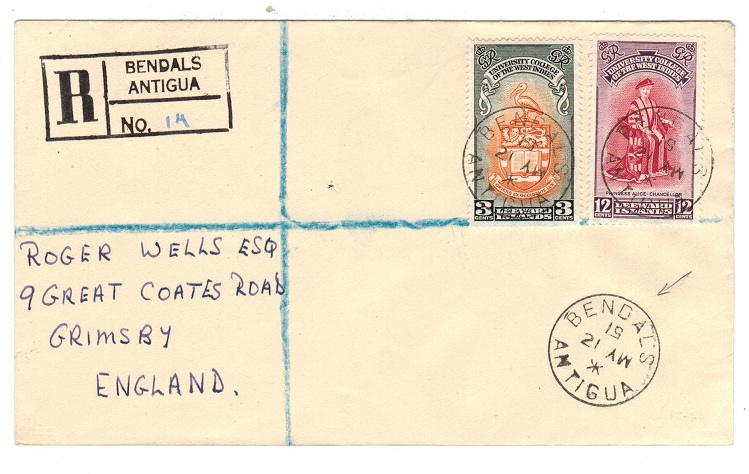 ANTIGUA - 1951 registered cover to UK from BENDALS.
