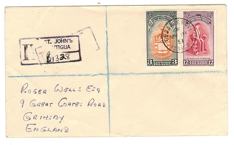 ANTIGUA - 1951 registered cover to UK from CEDAR GROVE.